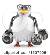 3d Acedemic Penguin Lifting Weights On A White Background by Steve Young