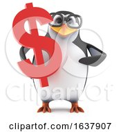 Funny Cartoon 3d Penguin Character Holding A USA Dollar Currency Symbol On A White Background
