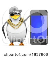 3d Rapper Penguin With Smartphone On A White Background