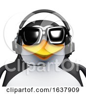3d Penguin Call Centre Employee On A White Background