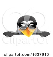 3d Penguin Wearing Sunglasses Over A Sign On A White Background
