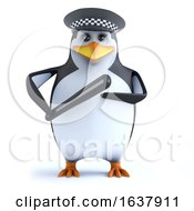 3d Funny Cartoon Penguin Policeman Character Holding A Truncheon On A White Background