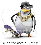 3d Rapper Penguin Ready To Skate On A White Background