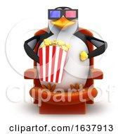 Funny Cartoon 3d Penguin Character Eating Popcorn And Wearing 3d Glasses On A White Background