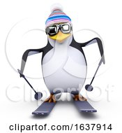 3d Skiing Penguin On A White Background by Steve Young