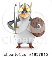 3d Mighty Academic Penguin Viking Warrior On A White Background