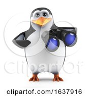 3d Penguin With Binoculars On A White Background by Steve Young