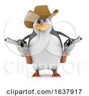 3d Penguin Quick Draw On A White Background by Steve Young