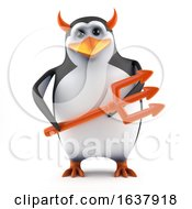 3d Penguin Tempts You On A White Background