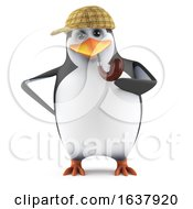 3d Penguin Sherlock On A White Background by Steve Young