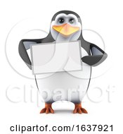 Funny Cartoon 3d Penguin Character Holding A Blank Banner On A White Background by Steve Young