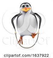 3d Penguin Skipping On A White Background