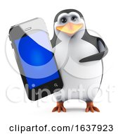 3d Penguin With Smartphone On A White Background by Steve Young