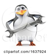 Poster, Art Print Of Funny Cartoon 3d Penguin Character Holding A Spanner Tool On A White Background