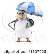 3d Penguin Holding An Umbrella On A White Background by Steve Young