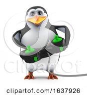 3d Penguin Video Gamer On A White Background