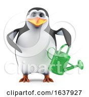 3d Penguin Gardener On A White Background