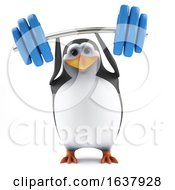 3d Penguin Working Out On A White Background by Steve Young