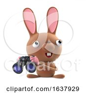 3d Cute Easter Bunny Rabbit With Binoculars On A White Background by Steve Young