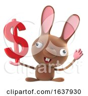 3d Cute Cartoon Easter Bunny Rabbit Holding US Dollar Currency On A White Background