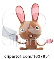3d Funny Cartoon Easter Bunny Rabbit Character Has Mail On A White Background