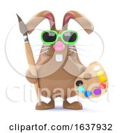 3d Easter Bunny Loves To Paint On A White Background