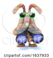 3d Chocolate Easter Bunny With Binoculars On A White Background