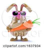 Poster, Art Print Of 3d Easter Rabbit With A Carrot On A White Background