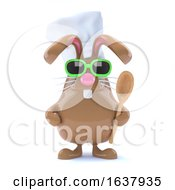 3d Chcolate Bunny Chef On A White Background