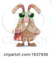 3d Easter Bunny Has A Cool Drink On A White Background