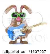 3d Easter Bunny Played Guitar On A White Background