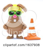 3d Easter Bunny Road Works On A White Background