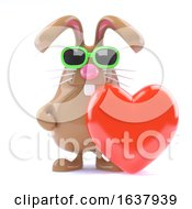 3d Bunny Love On A White Background