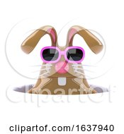 Poster, Art Print Of 3d Rabbit Down A Hole On A White Background