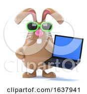 3d Chcolate Easter Bunny Has A Laptop On A White Background