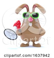 Poster, Art Print Of 3d Bunny Loudhailer On A White Background