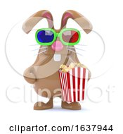 3d Chocolate Easter Bunny With Popcorn On A White Background