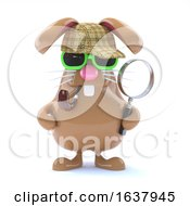 Poster, Art Print Of 3d Sherlock Bunny On A White Background