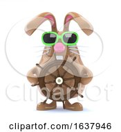 Poster, Art Print Of 3d Easter Bunny Sailor On A White Background