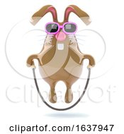 3d Easter Bunny Skips Happily On A White Background