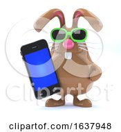 3d Chocolate Easter Bunny With Smartphone On A White Background