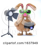 Poster, Art Print Of 3d Chocolate Easter Bunny In The Studio On A White Background