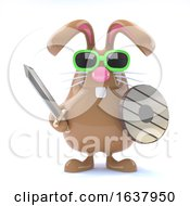 Poster, Art Print Of 3d Bunny Warrior On A White Background