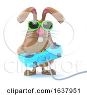 Poster, Art Print Of 3d Bunny Gamer On A White Background