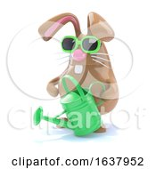 3d Horticultural Bunny On A White Background