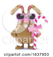 Poster, Art Print Of Funny Cartoon 3d Easter Bunny Rabbit Holding A Candy Stick On A White Background