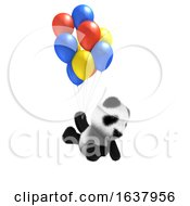 3D Baby Panda Balloon Ride On A White Background by Steve Young