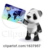 3d Baby Panda Bear Pays With A Debit Card On A White Background by Steve Young