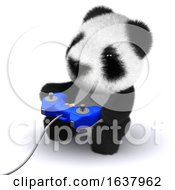3d Gamer Panda On A White Background by Steve Young