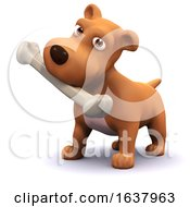 3d Dog And Bone On A White Background by Steve Young